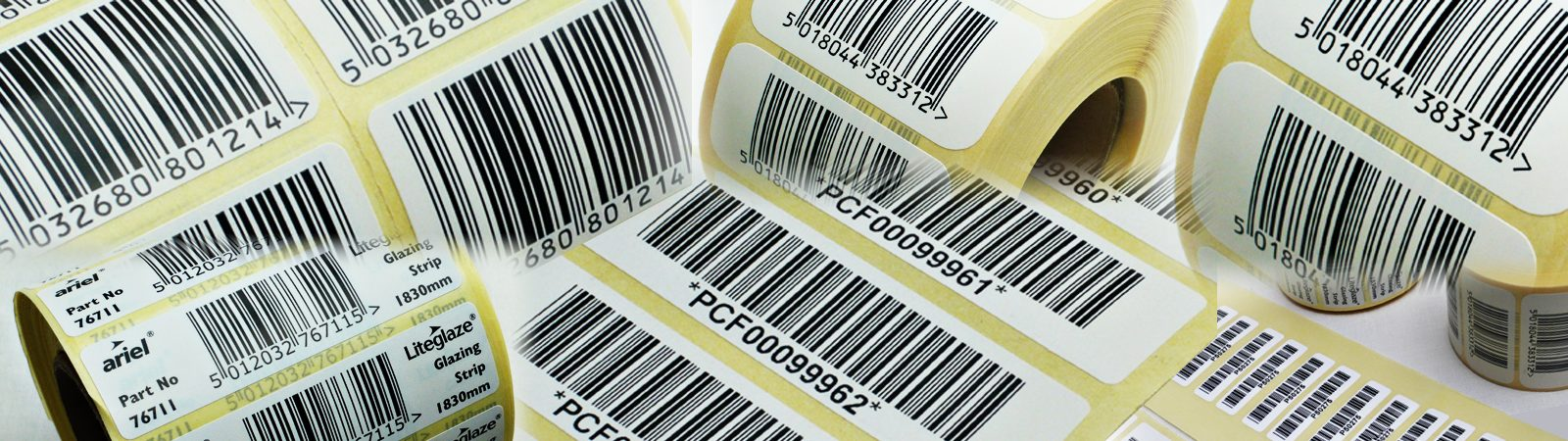Image of printed barcode labels with adhesive stickers